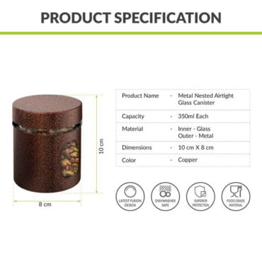 HomePuff Airtight Glass Canisters 350 ML X 4 COPPER