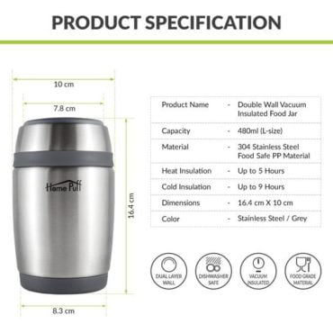 HomePuff Stainless Steel Food Jar 480 ML