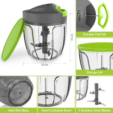 Homepuff 5 Blade Vegetable Cutter with Lid 900 ML
