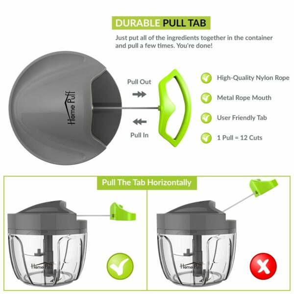 Homepuff 3 Blade Vegetable Chopper with Lid 650 ML