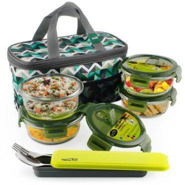 glass lunch box set of 4