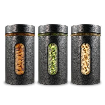 Airtight Glass Canisters in Metal Overlay (550 ml X 3) - Silver