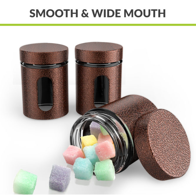 Canisters in Metal Overlay (550 ml X 3) - Copper